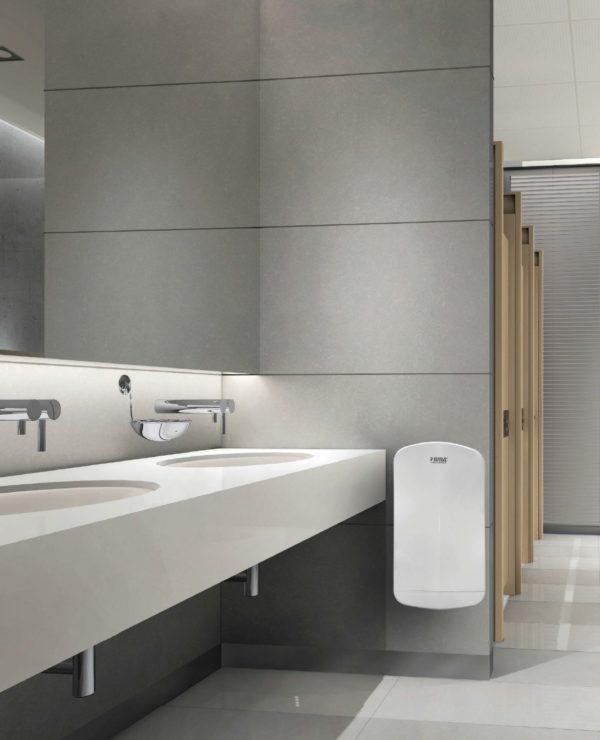 weergave installatie handendroger op toilet