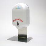 Automatische desinfectie-dispenser met RVS houder voor op tafel of balie.