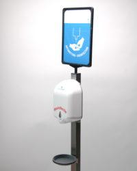 hygiene zuil van rvs met sensor dispenser en opvangschaal