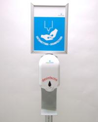 Desinfectie-zuil met automatische dispenser en a4 kliklijst